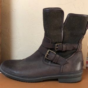 Ugg Leather and Twill Boots